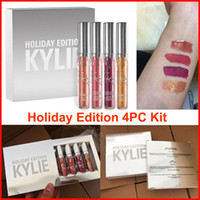 best gifts selling - Hot Sell kylie holiday edition lip gloss mini kit Holiday lipgloss KYLIE Jenner Matte Liquid Lipstick Lasting best christmas gift DHL