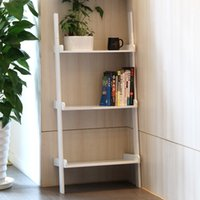 Wholesale Cheap High Quality Fashion Modern White Wooden Leaning Ladder Shelf Book Shelf Bookcase UK Stock