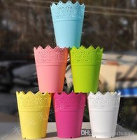 Wholesale Candy colorful crown shaped flower pot hollow plastic pots lace of fresh flower plants in pot