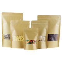 Wholesale 100pcs Brown Kraft paper pouches Stand up kraft paper bag Resealable Zip Lock Grip seal Food Grade