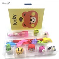 Wholesale Kawaii School Stationery Set Animal Eraser Pencil Notebook Ball point Pen Items All In An Organizer Box Study Supplies