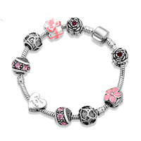 antique ruby diamond ring - Antique Silver Plated Women Charm Bangle Retro European Beads Bracelet With Flower Crystal Diamond Pendants Christmas Colorful Gift Jewelry