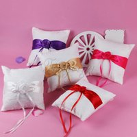 Wholesale Lace Ribbon Ring Pillow - Many Colors Wedding Ring Bearer Pillow with Satin Rose Ribbon Bow Lace Cushion Ring Display Holder Wedding Party Favors Gifts Decorations