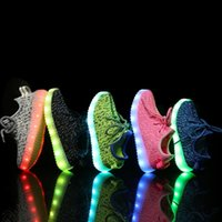 Wholesale LED Shoes For Children Camouflage Flashing Shoes With USB Charge Boys Girls Shoes Sport Casual Shoes Lighting Up Sneakers PPA515