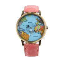 lovers' airplane buckle belt - Women Men Unisex Fashion Vine Casual World Map watch By Airplane belt Dial Analog Quartz Wrist Watch for Children and adults