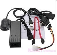 Wholesale New US EU Standard Hard Drive Power Supply Adapter USB to SATA IDE Cable be used to connect Hard disks CD ROM set