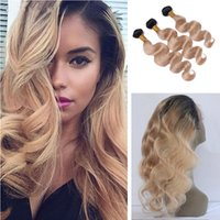 Wholesale Honey Blonde B Body Wave Ombre Hair Bundles With Pre Plucked Lace Band Frontal Closure With Baby Hair