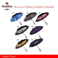 Wholesale Windproof Reverse Folding Double Layer Inverted Chuva Umbrella for Self Stand Inside Out Rain Protection C Hook Hands For Car