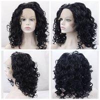 Peluca sintética delantera del cordón Pelucas onduladas onduladas del pelo para las mujeres negras Penteados cortos Nutural Negro Color