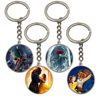 Wholesale 2017 New Fashion Silver Pendant Keyring Style Cartoon Keychain Beauty and the Beast Key Chain for Gift