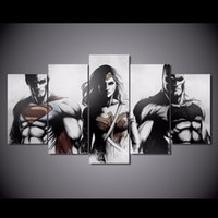 Wholesale 5 Set Framed HD Printed Batman Superman Dawn Of Justice Picture Wall Art Canvas Print Decor Poster Canvas Oil Painting