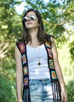 Wholesale Granny Square Crochet Sweater Vest with Fringe Women Hippie Festival Top