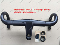 Wholesale silver Carbon Handlebar Road Bicycle Handlebar Available in Ø31 mm And Ø28 mm Reach mm Drop mm