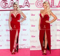 apple sims - Chloe Sims Simple Strapless V Neck Red Slit Long Prom Evening Dresses the ITV Gala Sheath High Split Long Formal Party Celebrity Gowns