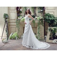Wholesale 2016 Wedding Dresses Garden Lace up Wedding Dresses With Cap Sleeves Court Train Chic Country Style A Line V Back Bridal Gowns