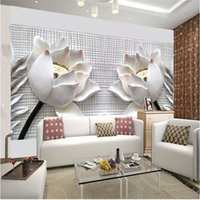 Wholesale photo wallpaper wall painting modern art non woven paper d TV contracted sitting white lotus flowers large mural wall paper