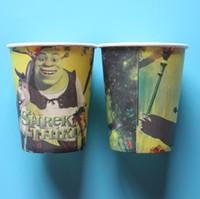 Revisiones Tercero-Shrek al por mayor-10pcs el vajilla de la tercera taza del papel de la impresión del tema para la decoración del partido de las tazas de consumición de la fiesta de cumpleaños