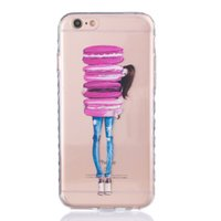 For Apple iPhone apple pie phone - Phone Cover TPU Clear Girl With Pies Drawing Soft Mobile Phone Case For iPhone S s Plus