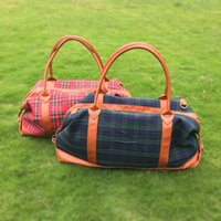 leather duffle bag - Plaid PU Canvas Overnight Bag Blanks Faux Leather Patchwork Duffle Bag Weekender totes with Shoulder Strip DOM106398