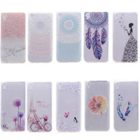 téléphones xperia achat en gros de-Transparent TPU Cover pour SONY Xperia X Case Décoration couleur Tour bike Butterfly Girl Feather Design Mobile Phone Case