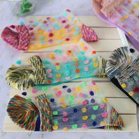 ba lot - New Pairs Ultra Thin Summer Autumn Meias Socks Woman Transparent Color Multicolor Dot Thin Bas Grils