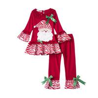 Wholesale 2pcs new arrive baby girls christmas set infant baby girl long sleeve Santa Claus pattern top pants set y
