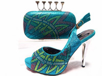 Wholesale 2017 new arrival shining African shoes and bag set high hell pumps for wedding party peep toes shoes in aqua