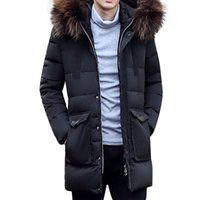 bamboo fashion clothing - Fashion Men Winter Coat Long Duck Down Jacket Faxu Fur Hooded Brand Clothing Down Parka Thick Mens Jackets Aarmy Green Black Overcoat