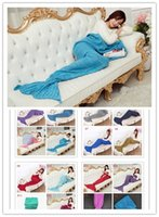 Wholesale 71 quot x35 quot Mermaid Tail Blanket Crochet and Mermaid Blanket for adult Super Soft All Seasons Sleeping Blankets