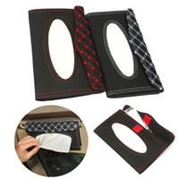 Wholesale High quality Car Sun Visor PU leather Tissue Paper Box Case Auto Interior Decoration Accessories Holder Napkin Clip