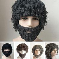 Wholesale Men Women Wig Hobo Knitted Woolen Hat Handmade Tassels Whiskers Pirate Hats Scientist Rasta Caveman Warm Beanies PPA677