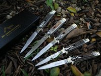 antler cuttings - Promotion Italy AKC quot classical D2 steel antler handle side open knife pocket folding camping hunting knife cutting tools gift