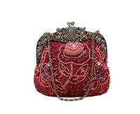 Acheter Sacs de soirée bordeaux-Bourgogne Handmade Femme Perlée Sequined Sac À Main D'embrayage Sac De Soirée De Mariage Banquet Maquillage Sac 2583-K