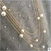 acting ropes - Pearl necklace exaggerated multilayer deserve to act the role of double long sweater chain necklace