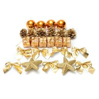 bauble box - 24 Pack Christmas Ornament Mini Gift Box Stars Ball Pinecone Baubles Christmas Tree Pendant Ornaments Decorations