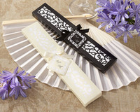 Wholesale Luxurious Silk Fold hand Fan in Elegant Laser Cut Gift Box Black Ivory pink Party Favors wedding Gifts