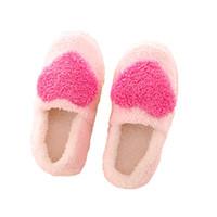 bedroom heels - Winter Pantuflas Pantufa Love Heart Pattern Cotton Plush Slippers Soft Warm Floor Indoor Shoes Women Bedroom House Slippers