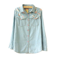 Wholesale Fashion Style Long Sleeve Casual Shirt New Spring Woman Denim Shirts Women Blouses Plus Size Blusa Jeans Feminina ST001