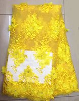 Wholesale 5 Yards pc Charming yellow embroidery french net lace fabric with appliqued african mesh lace for dressing WN4