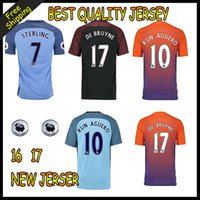Wholesale 2016 KUN AGUERO Soccer Jerseys Manchesteres Kompany Kevin De Bruyne STERLING SILVA TOURE YAYA city Home Away rd Football Shirt