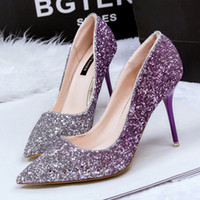 Wholesale Blingbling Ombre Wedding Shoes Sexy High Heel Shoe Pointed Toe Sequined Cloth Thin Heels Nightclub Bridal Shoes Purple Autumn Ladies Shoes