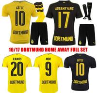 Wholesale 2016 Borussia Dortmund soccer Sets Dortmund Full Set Home Away M GOTZE REUS AUBAMEYANG KAGAWA MOR football Sets Soccer Kits With Short