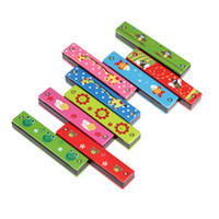Wholesale Woodwind Instruments Tremolo Harmonica Wood Made Holes Kids Musical Instrument Toy Enlightenment Early Educational Random Color