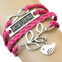 best megaphone - Pieces New Fashion Best Friend Bracelet Bird Dragonfly Megaphone Bicycle Plane Wing Anchor Elephant Cat Supernatural