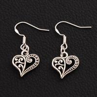 Wholesale 40pairs Tibetan Silver Open Half Flower Cute Heart Charm Pendant Earrings Silver Fish Ear Hook Chandelier E919 x31 mm