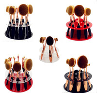 bathroom show rooms - 20pcs Toothbrush Oval Makeup Brushes Display Holder Stand Storage Organizer Brush Showing Rack Plastic Round Acrylic Cosmetic Organizer