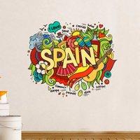 baby spain - I Love Spain Illustration Fashion Wedding Decor Vinyl Waterproof Wall Sticker Bedroom Wallpaper Wall Decal Baby Rooms Decor