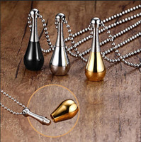 ash gold - Stainless Steel Openable Pendants Urn Necklaces Ashes Case Cremation Fashion Bead Chain Perfume Bottle Necklace Men Women Lovers Jewelry