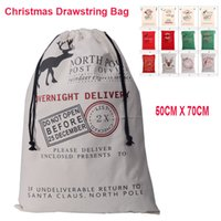 Wholesale Christmas Large Canvas Monogrammable Santa Claus Drawstring Bag With Reindeers Monogramable Christmas Gifts Sack Bags OTH319