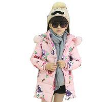 Wholesale Fashion Girls Coat Big Flower Print Kids Winter Coats Long Trench Coat Korean Style Long Sleeve Warm Hooded Lovely Cute Clothing